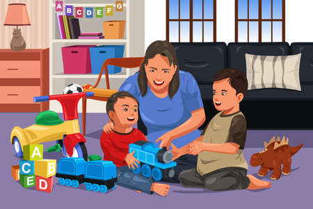 A vector illustration of mother playing with her happy kids together