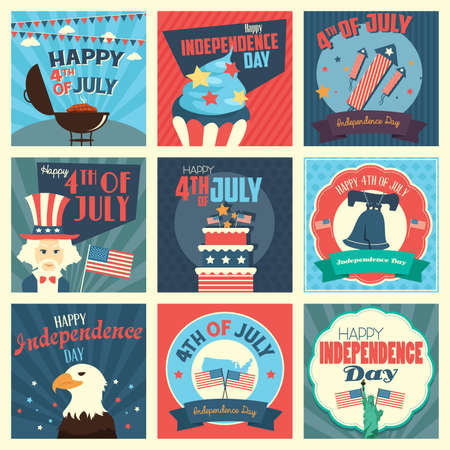 independence day america: A vector illustration of Fourth of July Independence Day icon sets