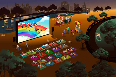 A vector illustration of people watching outdoor movie in a park