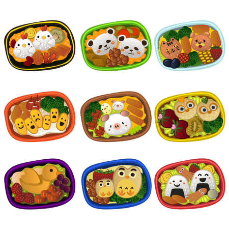 A vector illustration of creative bento for kids