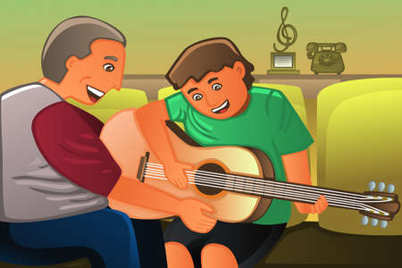 Vector father and son: A vector illustration of father playing guitar with his son