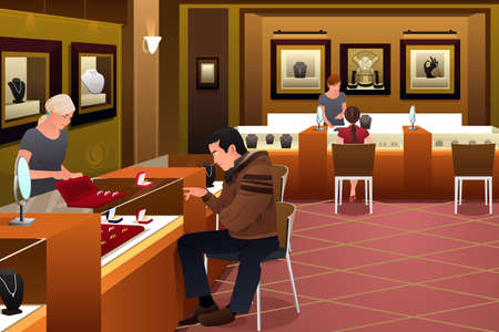 jewelry store: A vector illustration of man shopping for a wedding ring in a jewelry store