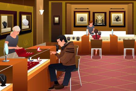 punto vendita: Una illustrazione vettoriale di uomo di shopping per un anello di nozze in una gioielleria