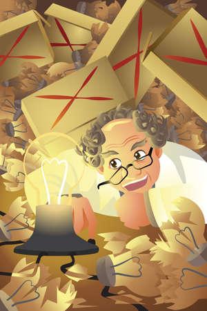 uitvinder: Een vector illustratie van de uitvinder met een stapel gebroken gloeilamp Stockfoto
