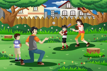 family playing: A vector illustration of happy family playing baseball outdoor