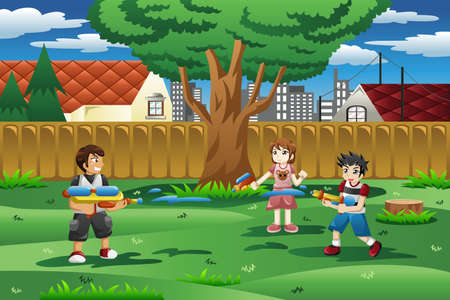 backyard: A vector illustration of happy kids playing with water gun in the backyard Stock Photo