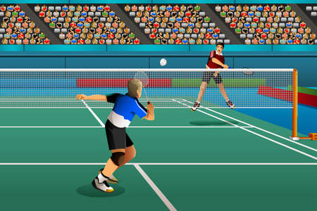 competitor: A vector illustration of men playing badminton in the competition for sport competition series