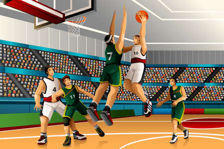 A illustration of people playing basketball in the competition for sport competition series Stock Illustratie