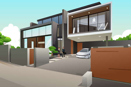 modern house: A illustration of people in a modern style house