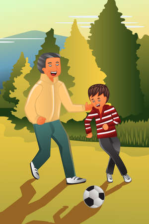 family playing: A vector illustration of father playing soccer with his son