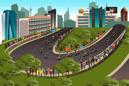 city background: A illustration of cycling competition with city in the background Illustration
