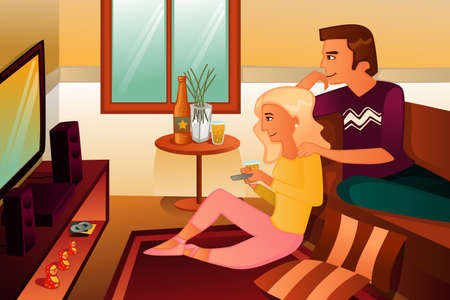 recreation rooms: A illustration of couple watching TV  at home Illustration