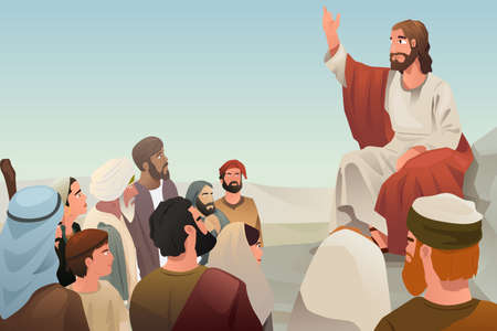A illustration of Jesus spreading his teaching to people Banco de Imagens - 39844737