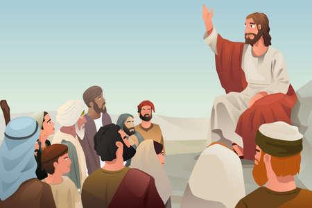 enseñanza: Una ilustración de Jesús extendiendo su enseñanza a las personas