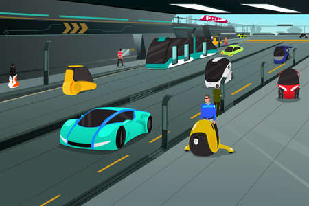 A illustration of futuristic city transportation Illustration