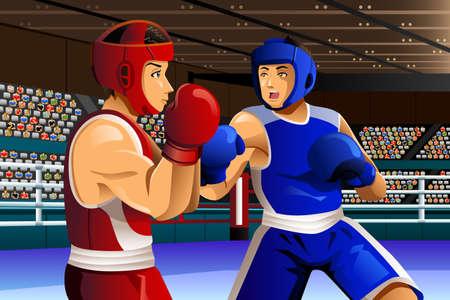 amateur: Una ilustración de los boxeadores luchando en el ring para la serie competición deportiva Vectores