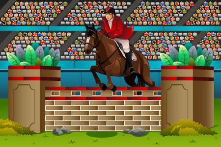 A illustration of an equestrian in the competition for sport competition series