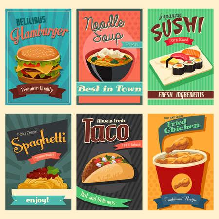 comida japonesa: Una ilustración vectorial de cartel de los alimentos