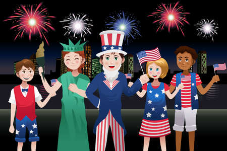 A vector illustration of kids celebrating Fourth of July Vector