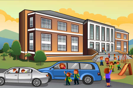 A vector illustration of  parents picking up kids from school