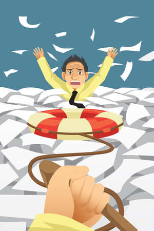 stress: A vector illustration of businessman drowning in a paperwork given help Illustration