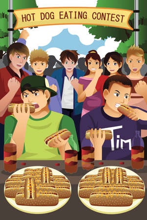contest: A vector illustration of people in hotdog eating contest
