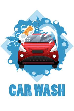 carro caricatura: Una ilustración vectorial de diseño del cartel de lavado de coches