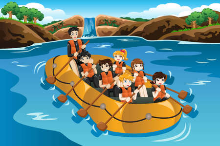 A vector illustration of kids rafting in a river Ilustração