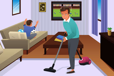 vacuum: A vector illustration of father vacuuming the carpet in the house while his son watching television Illustration