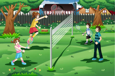 A vector illustration of family playing badminton in the backyard