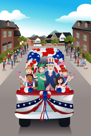 parade: A vector illustration of kids in a parade celebrating Fourth of July