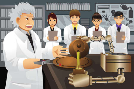A vector illustration of professor presenting his experiment invention to his students