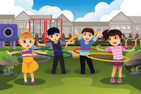 A vector illustration of happy children playing hula hoop in the park Vector