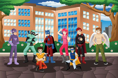 cosplay: A vector illustration of people in cosplay costume