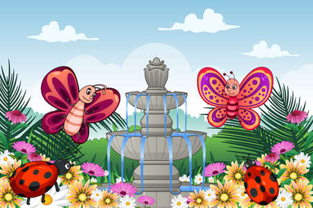 garden fountain: A vector illustration of garden with cute animals Illustration