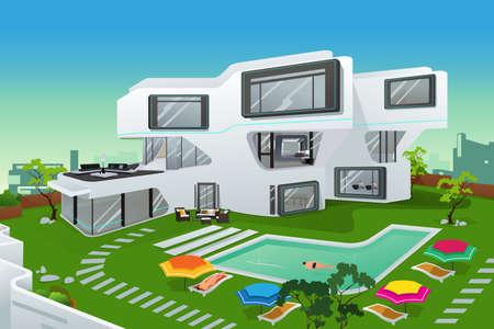 Een illustratie van de mensen in een moderne stijl huis