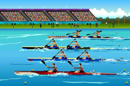 スポーツ競争シリーズのために川でカヌーに乗っている人の図  イラスト・ベクター素材