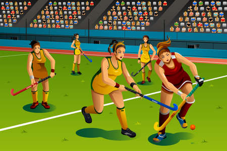 field hockey: Una ilustraci�n de la gente que juega hockey sobre c�sped en el concurso de serie de la competici�n deportiva