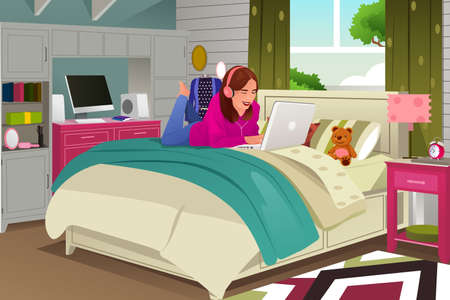 woman lying in bed: An illustration of teenage girl listening to music and working on her laptop Illustration