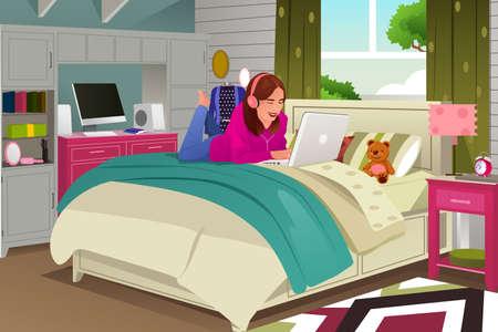 woman lying down: Una ilustraci�n de una chica adolescente escuchar m�sica y trabajando en su computadora port�til Vectores