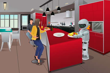 cyber woman: An illustration of a robot serving breakfast Illustration