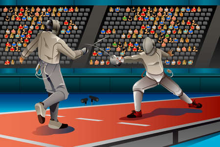 competitions: An illustration of two men fencing in the competition for sport competition series Illustration