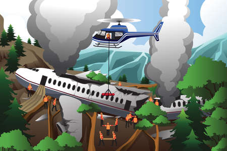 cartoon accident: An illustration of rescue teams searching through destroyed airplane