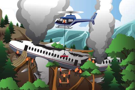 Een illustratie van de reddingsteams zoeken via vernietigd vliegtuig Stock Illustratie