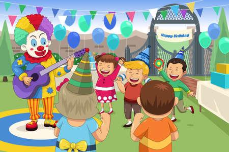 Una ilustración vectorial de payaso en una fiesta de cumpleaños de los niños