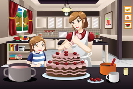 A vector illustration of mother and her daughter decorating a cake together Çizim