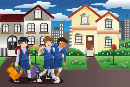 schoolmate: A vector illustration of injured kid walking home from school and his friends help him carrying his books and bag Illustration