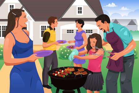 parrillero: Una ilustración vectorial de la gente que tiene una fiesta de barbacoa en el jardín