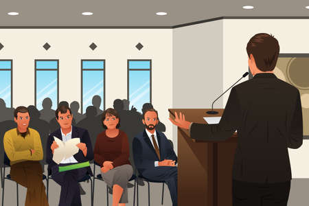 A vector illustration of businessman speaking at a podium in a conference or seminar Stock Illustratie