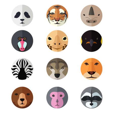 Een vector illustratie van dierlijke hoofd pictogram sets Stock Illustratie